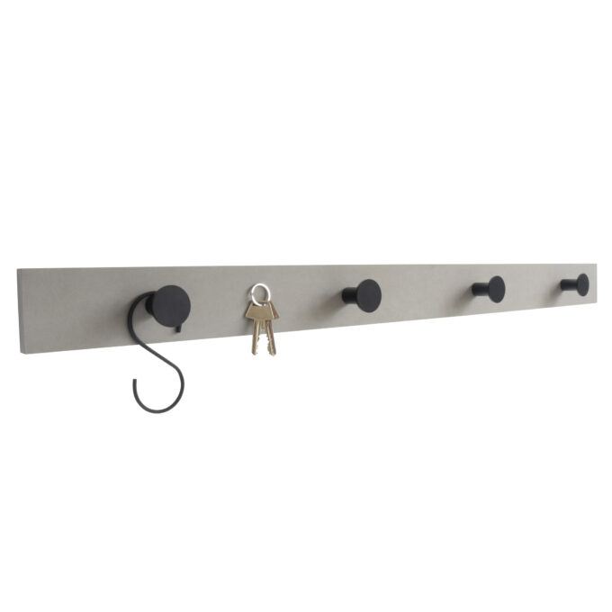 Knagerække i grå ecoboard med messingknager